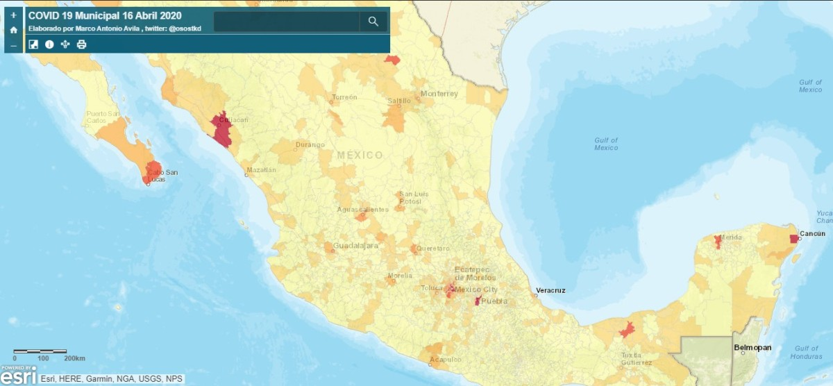 Mapa municipal de MéxicoCOVID19